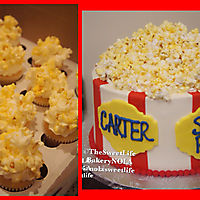 Popcorn themed cake and mini cupcakes_1